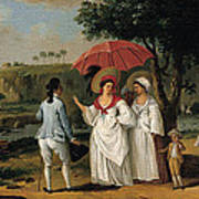 West Indian Landscape With Figures Promenading Before A Stream Poster