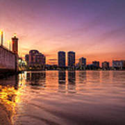 West Palm Beach Skyline At Dusk Poster