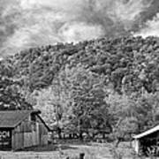 West Virginia Barns Monochrome Poster