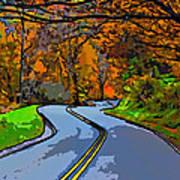 West Virginia Curves 2 Line Art Poster