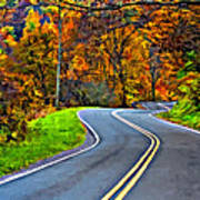 West Virginia Curves Painted Poster