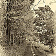 West Virginia Wandering Sepia Poster