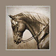 Western Horse Aged Photo Fx Sepia Pillow Poster