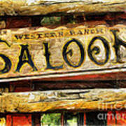 Western Saloon Sign - Drawing Poster