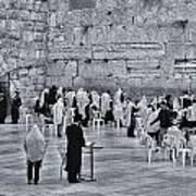 Western Wall Jerusalem Bw Poster