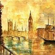Westminster Palace London Thames Poster