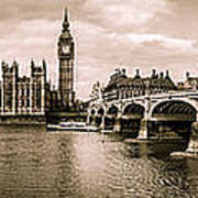 Westminster Pano Mono Poster