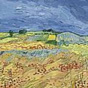 Wheatfield With Stormy Sky Poster