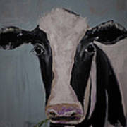 Whimisical Holstein Cow Original Painting On Canvas Poster