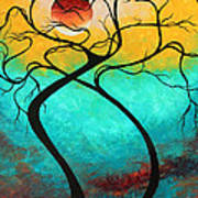 Whimsical Abstract Tree Landscape With Moon Twisting Love IIi By Megan Duncanson Poster