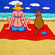 Whimsical Beach Seashore Woman And Dog Poster