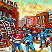 Whimsical Hockey Art Snow Day In Montreal Winter Urban Landscape City Scene Painting Carole Spandau Poster by Carole Spandau