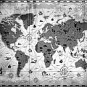 Whimsical World Map Bw Poster