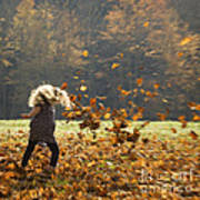 Whirling With Leaves Poster