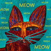 Whiskers Meowing Poster