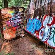 Whistler Train Wreck Covered In Graffiti Poster