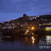 Whitby Lower Harbour And The Rnli Lifeboat Station At Night Poster
