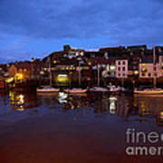 Whitby Lower Harbour At Night Poster