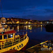 Whitby Upper Harbour At Night Poster
