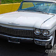 White 1960 Caddy Poster