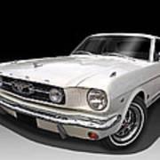 White 1966 Mustang Poster
