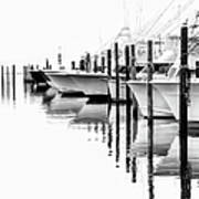 White Boats II - Outer Banks Bw Poster by Dan Carmichael