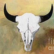 White Buffalo Skull Poster