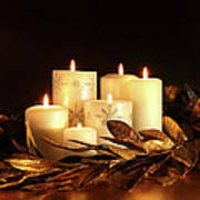 White Candles With Gold Leaf Garland  Poster