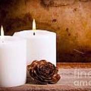 White Candles With Rose Poster