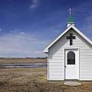 White Church Chapel  On Prairie Poster