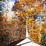 White Church In Autumn Poster