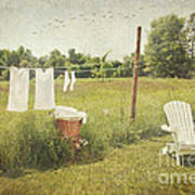 White Cotton Clothes Drying On A Wash Line  Poster by Sandra Cunningham