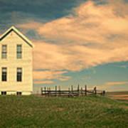 White Farmhouse And Corral Poster