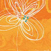 White Flower On Orange Poster