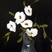 White Flowers In A Vase Poster