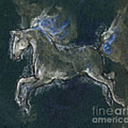 White Horse Minature Painting Poster