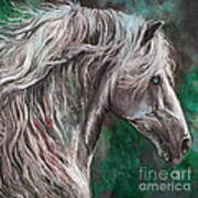 White Horse Painting Poster