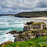White Horses At Perranporth Beach  Poster