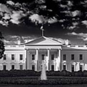 White House Sunrise B W Poster
