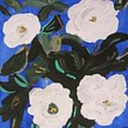 White Magnolias On Deep Blue Poster