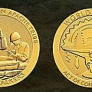 White Mountain Apache Tribe Code Talkers Bronze Medal Art Poster