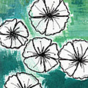 White Petunias- Floral Abstract Painting Poster