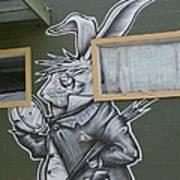 White Rabbit Poster by Lne Kirkes