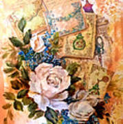 White Roses And Forget Me Nots On Decoupaged Background Poster