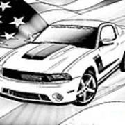 White Roush Mustang Poster