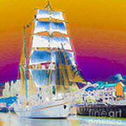 White Sails Ship And Colorful Background Poster
