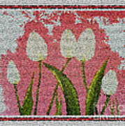 White Tulips On Pink In Stained Glass Poster