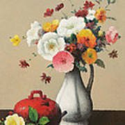 White Vase And Red Box Poster by Felix Elie Tobeen