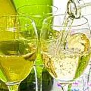 White Wine Pouring Into Glasses Poster