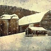White Winter Barn Poster
